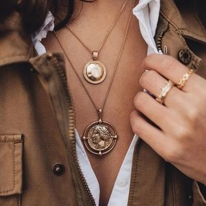 Retro Style Carved Coin Necklace